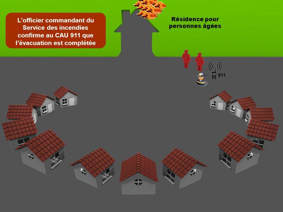 Le CAU 911 transmet à lofficier commandant du Service des incendies les renseignements du dénombrement effectué par les voisins Résidence pour personnes âgées 911