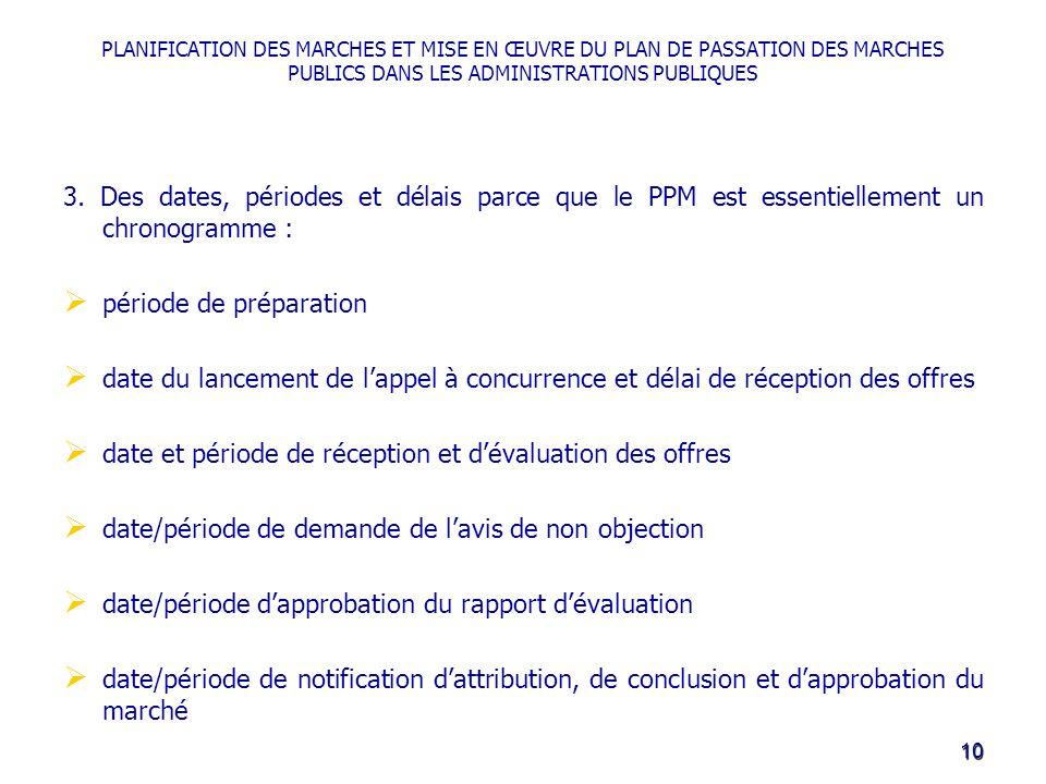 PLANIFICATION DES MARCHES ET MISE EN ŒUVRE DU PLAN DE PASSATION DES MARCHES PUBLICS DANS LES ADMINISTRATIONS PUBLIQUES 3.