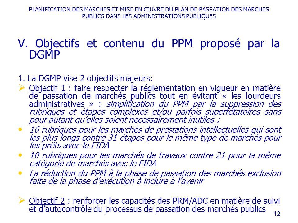 PLANIFICATION DES MARCHES ET MISE EN ŒUVRE DU PLAN DE PASSATION DES MARCHES PUBLICS DANS LES ADMINISTRATIONS PUBLIQUES V. Objectifs et contenu du PPM