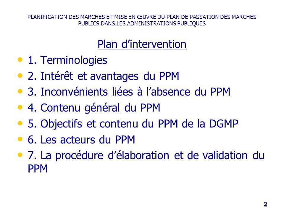 PLANIFICATION DES MARCHES ET MISE EN ŒUVRE DU PLAN DE PASSATION DES MARCHES PUBLICS DANS LES ADMINISTRATIONS PUBLIQUES Plan dintervention 1. Terminolo