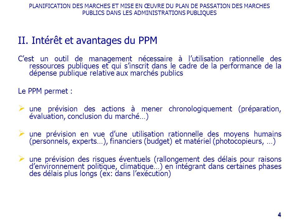 PLANIFICATION DES MARCHES ET MISE EN ŒUVRE DU PLAN DE PASSATION DES MARCHES PUBLICS DANS LES ADMINISTRATIONS PUBLIQUES II. Intérêt et avantages du PPM