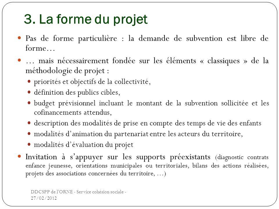 3. La forme du projet Pas de forme particulière : la demande de subvention est libre de forme… … mais nécessairement fondée sur les éléments « classiq