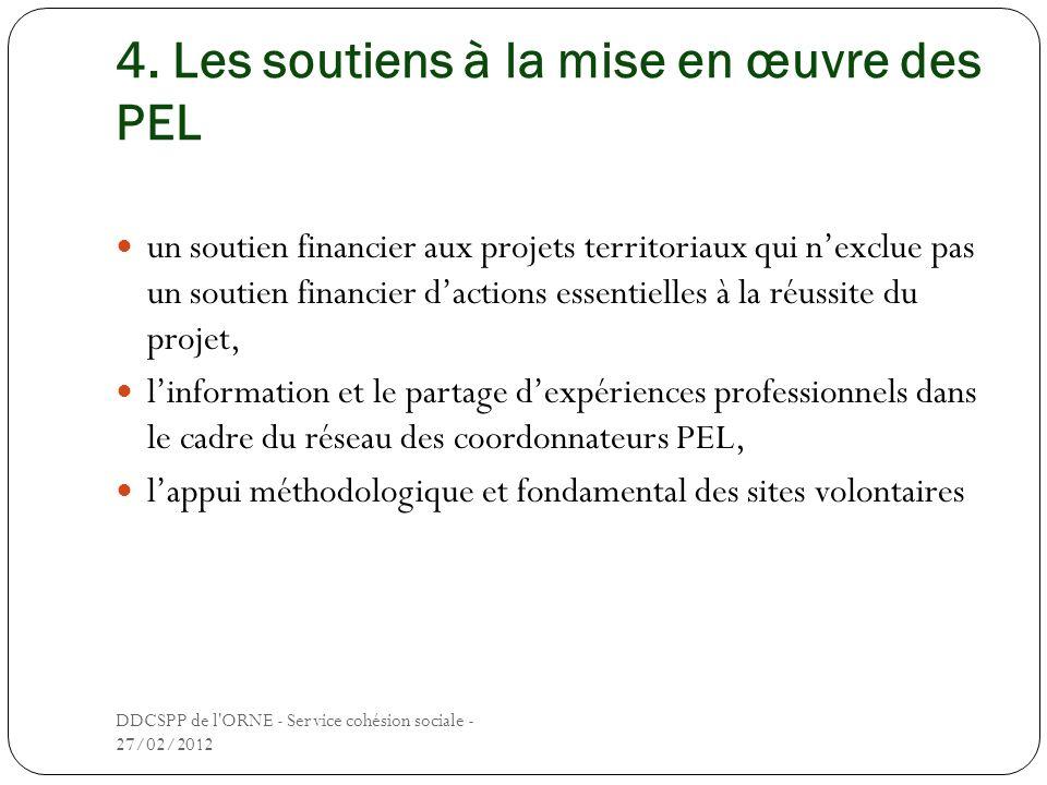 4. Les soutiens à la mise en œuvre des PEL un soutien financier aux projets territoriaux qui nexclue pas un soutien financier dactions essentielles à