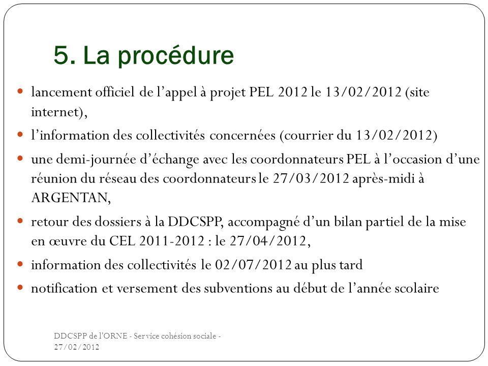 5. La procédure lancement officiel de lappel à projet PEL 2012 le 13/02/2012 (site internet), linformation des collectivités concernées (courrier du 1