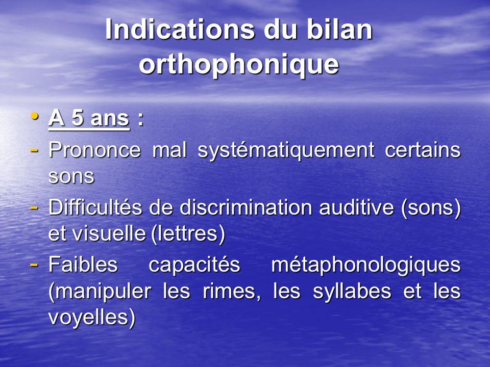 Indications du bilan orthophonique A 5 ans : A 5 ans : - Prononce mal systématiquement certains sons - Difficultés de discrimination auditive (sons) e