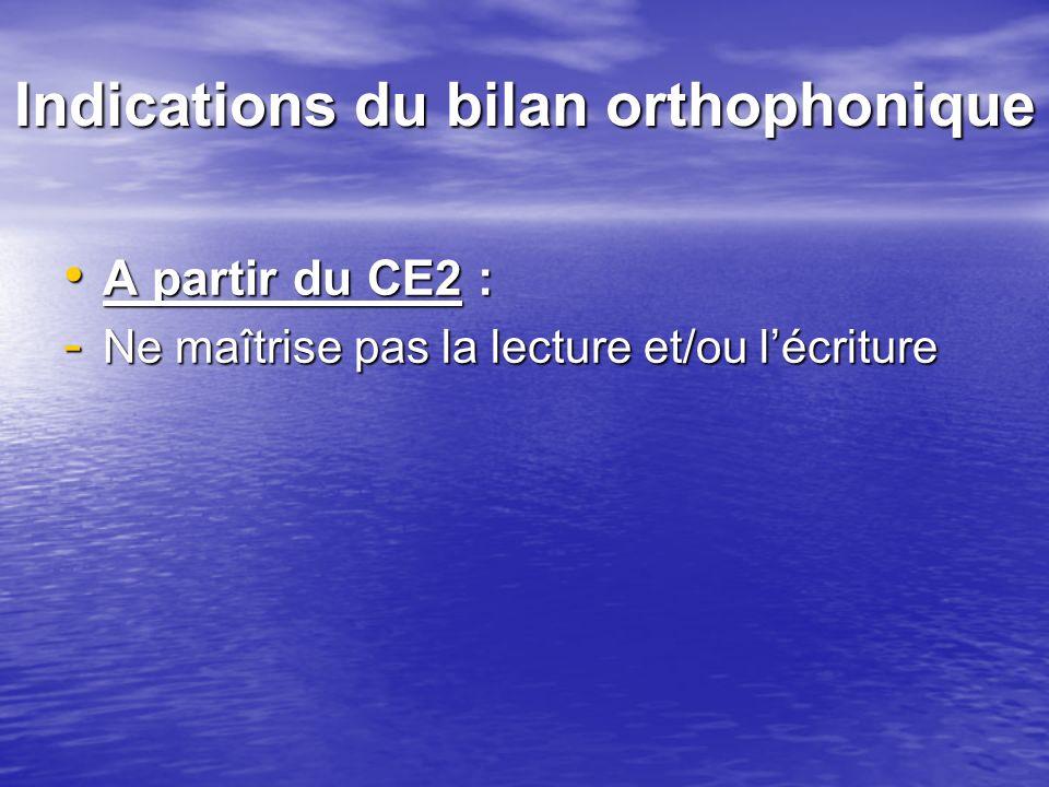 Indications du bilan orthophonique A partir du CE2 : A partir du CE2 : - Ne maîtrise pas la lecture et/ou lécriture