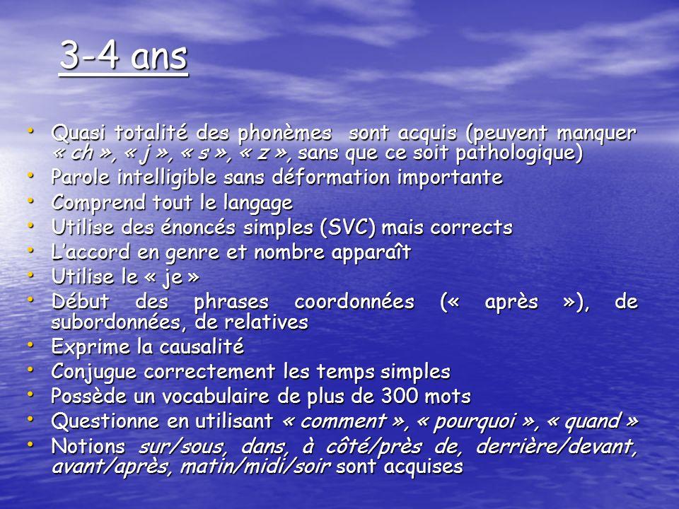3-4 ans Quasi totalité des phonèmes sont acquis (peuvent manquer « ch », « j », « s », « z », sans que ce soit pathologique) Quasi totalité des phonèm