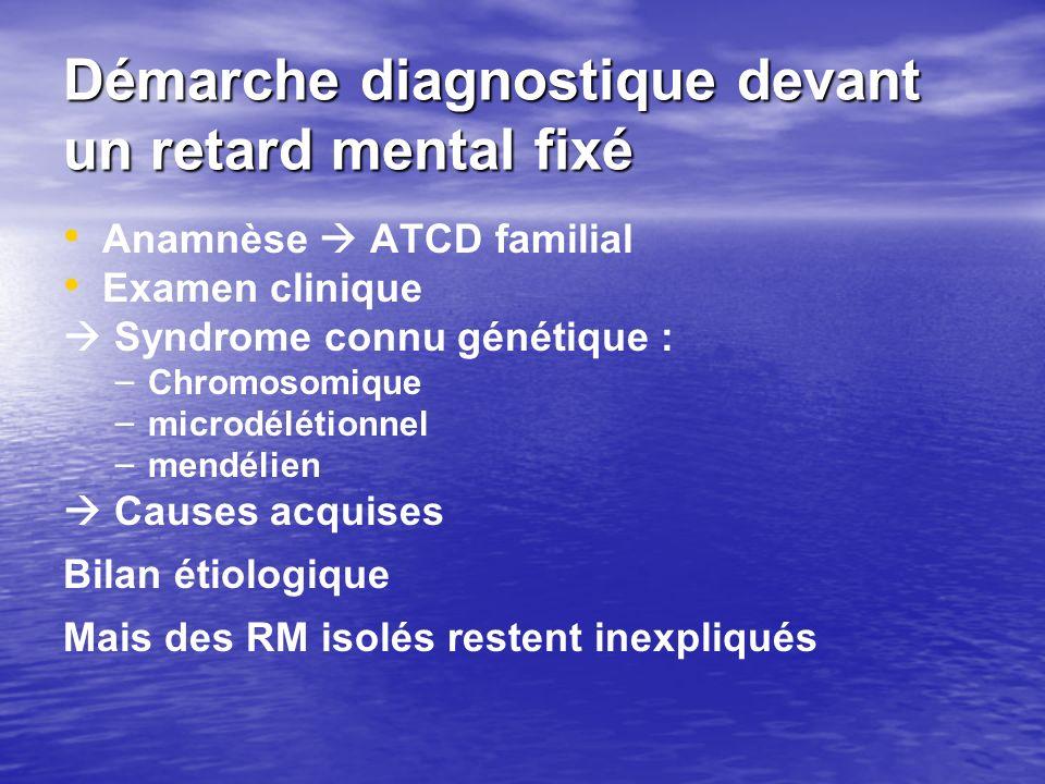 Démarche diagnostique devant un retard mental fixé Anamnèse ATCD familial Examen clinique Syndrome connu génétique : – – Chromosomique – – microdéléti