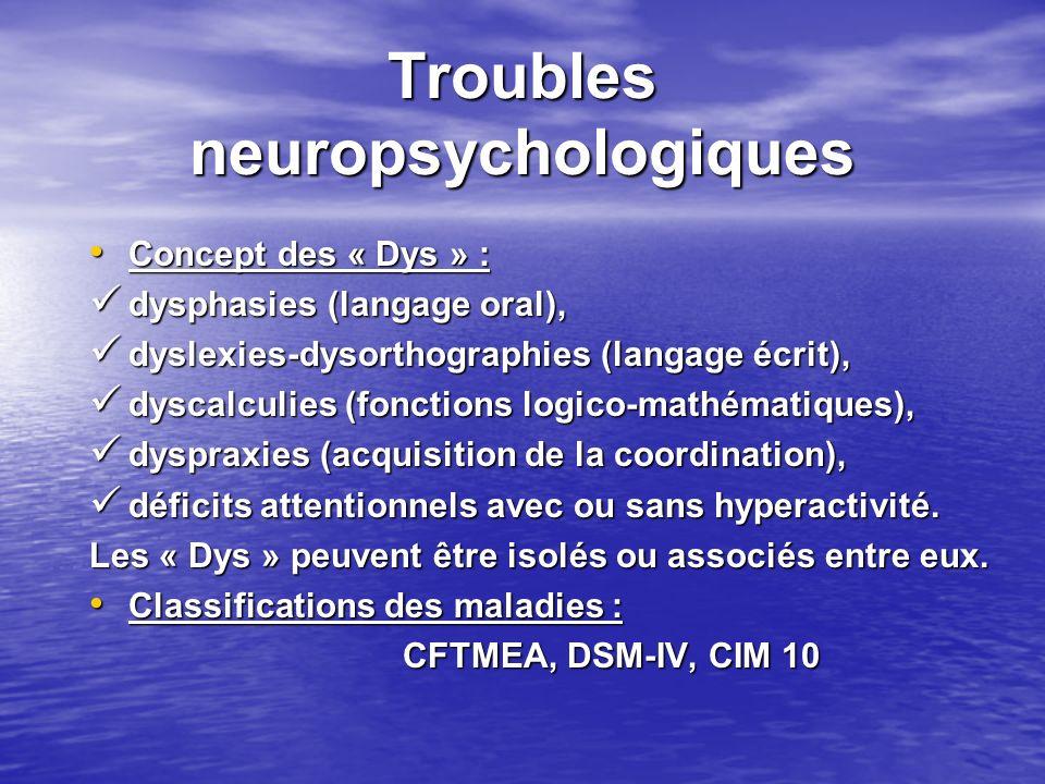 Troubles neuropsychologiques Concept des « Dys » : Concept des « Dys » : dysphasies (langage oral), dysphasies (langage oral), dyslexies-dysorthograph