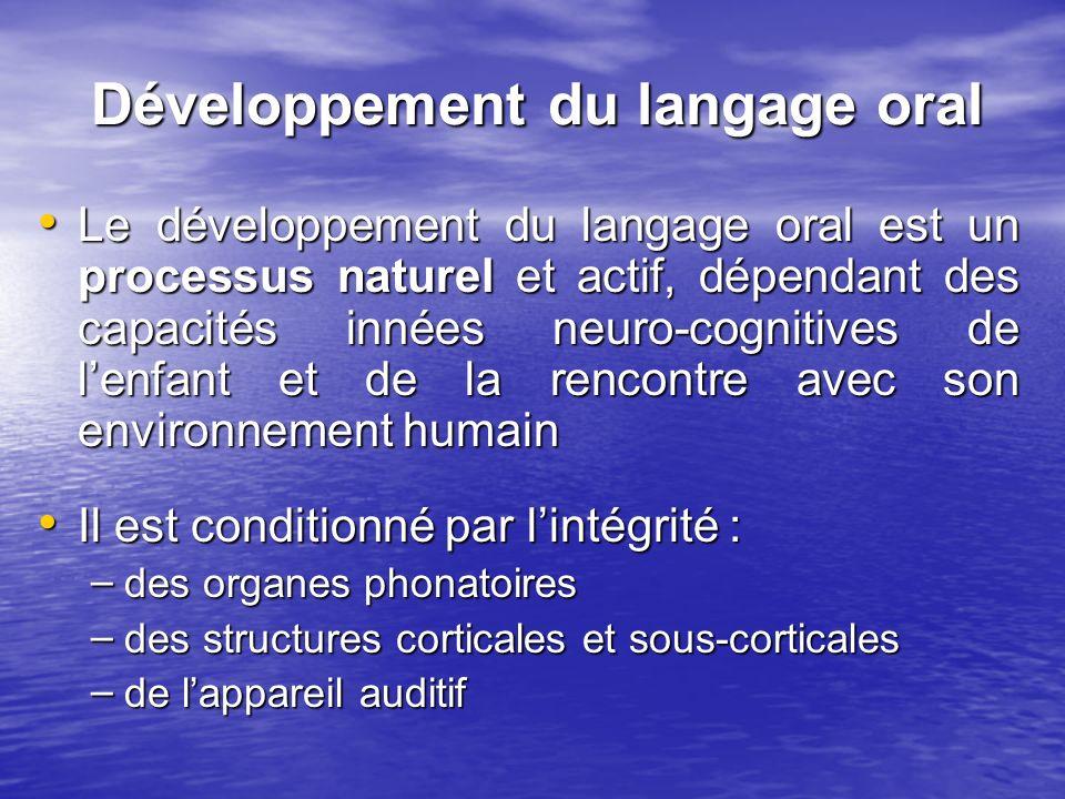 Développement du langage oral Le développement du langage oral est un processus naturel et actif, dépendant des capacités innées neuro-cognitives de l