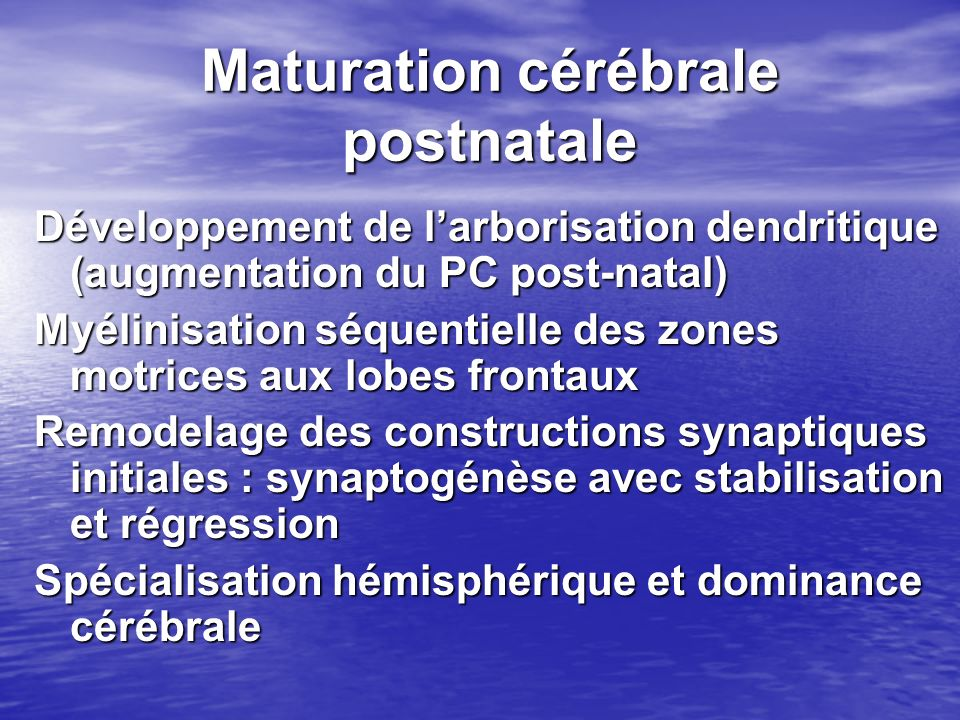 Maturation cérébrale postnatale Développement de larborisation dendritique (augmentation du PC post-natal) Myélinisation séquentielle des zones motric