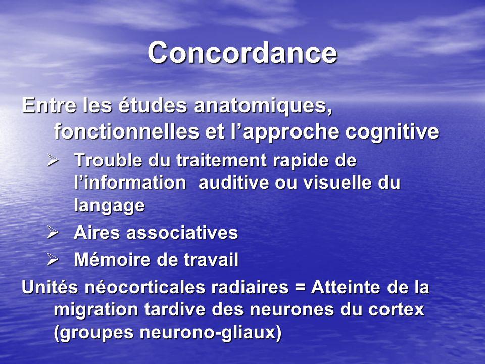 Concordance Entre les études anatomiques, fonctionnelles et lapproche cognitive Trouble du traitement rapide de linformation auditive ou visuelle du l