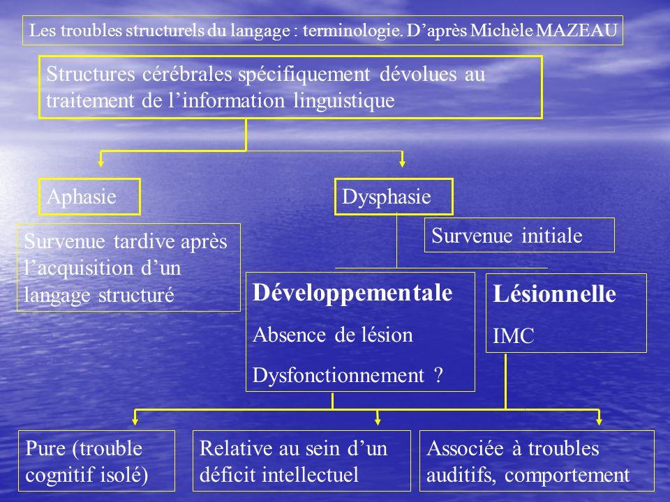 Structures cérébrales spécifiquement dévolues au traitement de linformation linguistique AphasieDysphasie Survenue tardive après lacquisition dun lang