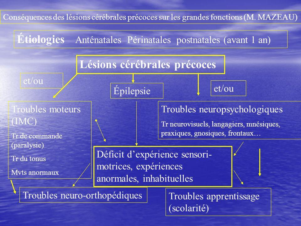 Troubles moteurs (IMC) Tr de commande (paralysie) Tr du tonus Mvts anormaux Étiologies Anténatales Périnatales postnatales (avant 1 an) Conséquences d