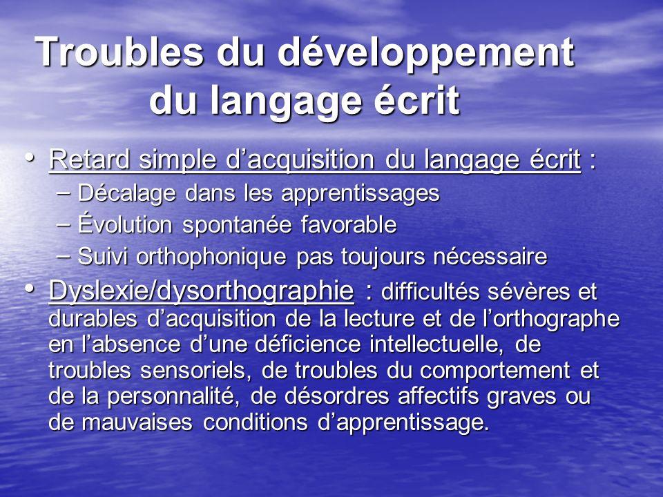 Troubles du développement du langage écrit Retard simple dacquisition du langage écrit : Retard simple dacquisition du langage écrit : – Décalage dans