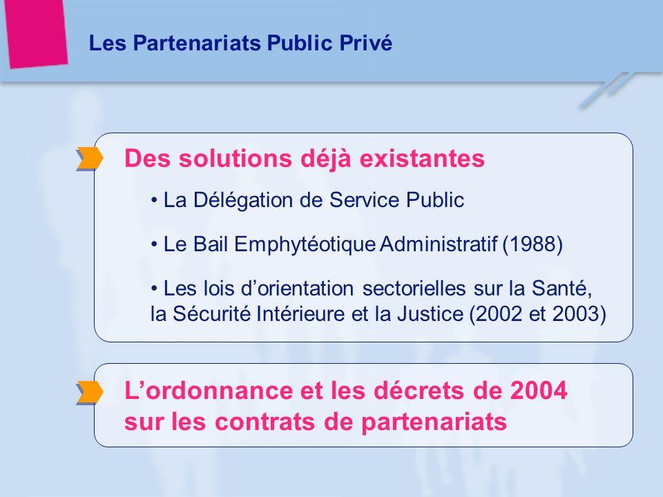 Les Partenariats Public Privé Lordonnance et les décrets de 2004 sur les contrats de partenariats Des solutions déjà existantes La Délégation de Service Public Le Bail Emphytéotique Administratif (1988) Les lois dorientation sectorielles sur la Santé, la Sécurité Intérieure et la Justice (2002 et 2003)