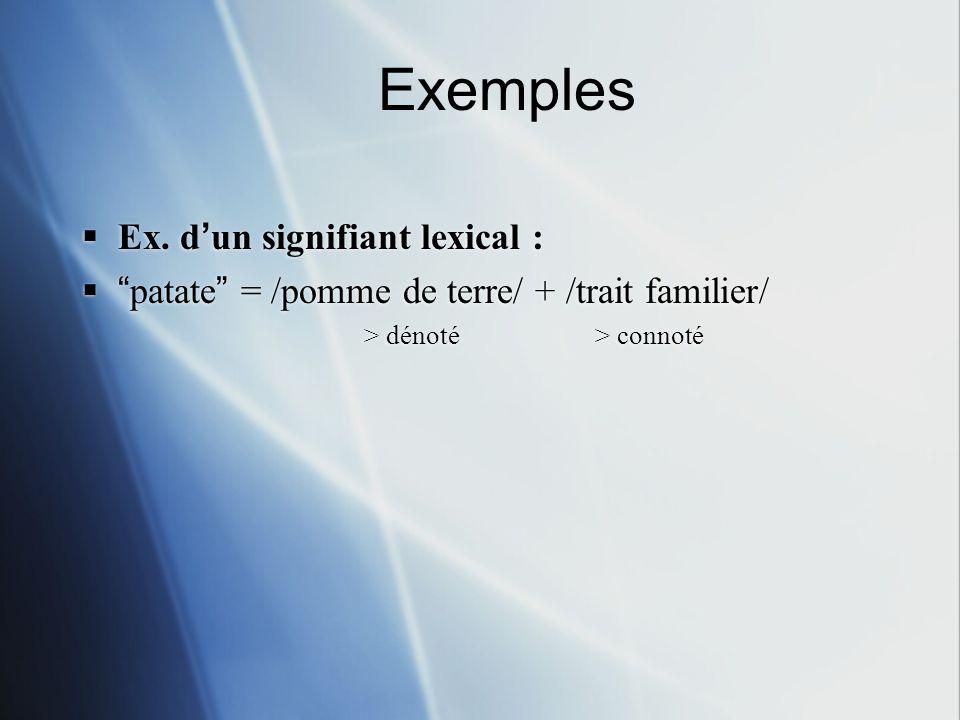 Ex. dun signifiant lexical : patate = /pomme de terre/ + /trait familier/ > dénoté > connoté Ex. dun signifiant lexical : patate = /pomme de terre/ +