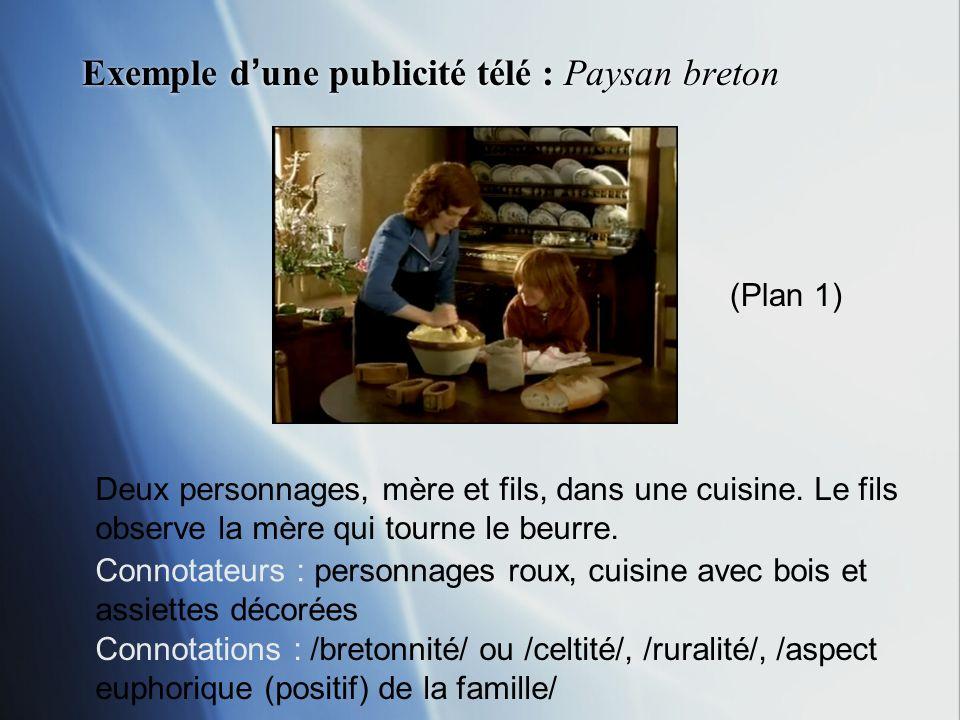 Exemple dune publicité télé : Paysan breton Deux personnages, mère et fils, dans une cuisine. Le fils observe la mère qui tourne le beurre. Connotateu
