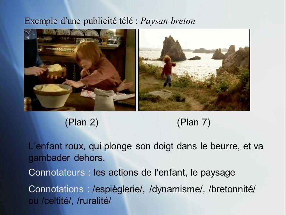 Exemple dune publicité télé : Paysan breton Lenfant roux, qui plonge son doigt dans le beurre, et va gambader dehors. Connotateurs : les actions de le