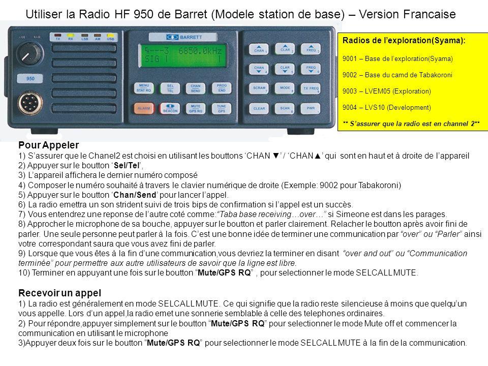 Utiliser la Radio HF 950 de Barret (Modele station de base) – Version Francaise Pour Appeler 1) Sassurer que le Chanel2 est choisi en utilisant les bouttons CHAN / CHAN qui sont en haut et à droite de lappareil 2) Appuyer sur le boutton Sel/Tel, 3) Lappareil affichera le dernier numéro composé 4) Composer le numéro souhaité à travers le clavier numérique de droite (Exemple: 9002 pour Tabakoroni) 5) Appuyer sur le boutton Chan/Send pour lancer lappel.