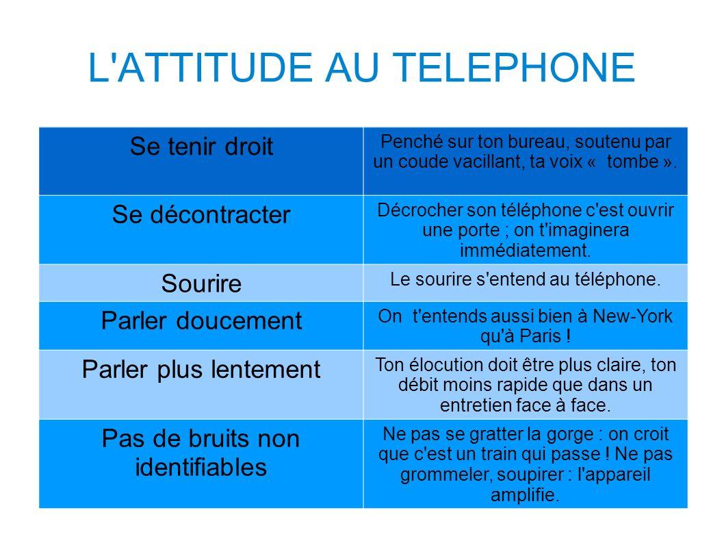 L'ATTITUDE AU TELEPHONE Se tenir droit Penché sur ton bureau, soutenu par un coude vacillant, ta voix « tombe ». Se décontracter Décrocher son télépho