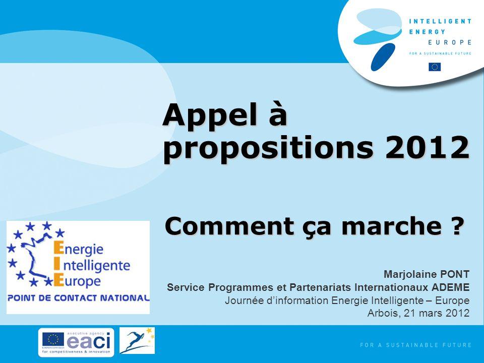 Appel à propositions 2012 Comment ça marche ? Marjolaine PONT Service Programmes et Partenariats Internationaux ADEME Journée dinformation Energie Int