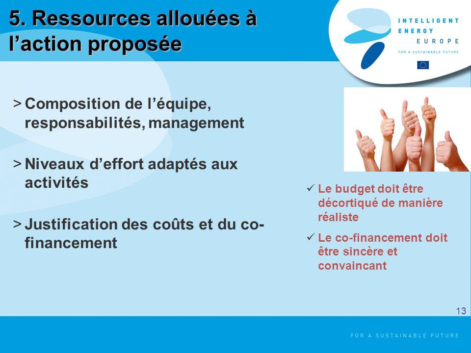 5. Ressources allouées à laction proposée >Composition de léquipe, responsabilités, management >Niveaux deffort adaptés aux activités >Justification d