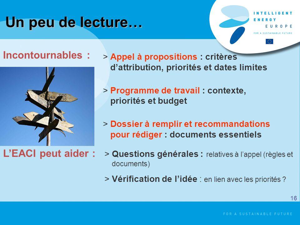Un peu de lecture… >Appel à propositions : critères dattribution, priorités et dates limites >Programme de travail : contexte, priorités et budget >Do