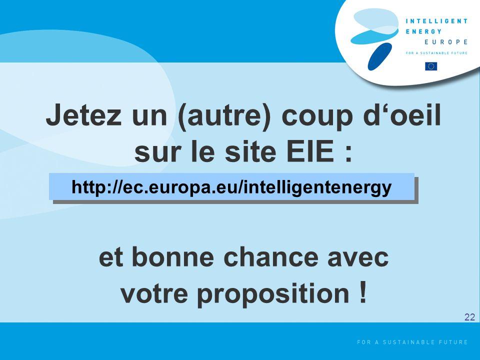 Jetez un (autre) coup doeil sur le site EIE : et bonne chance avec votre proposition ! http://ec.europa.eu/intelligentenergy 22