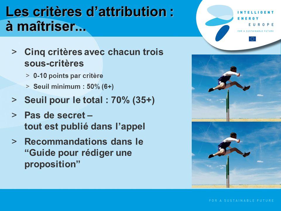 Les critères dattribution : à maîtriser... >Cinq critères avec chacun trois sous-critères >0-10 points par critère >Seuil minimum : 50% (6+) >Seuil po