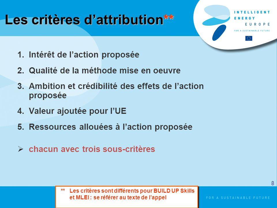Les critères dattribution** 1.Intérêt de laction proposée 2.Qualité de la méthode mise en oeuvre 3.Ambition et crédibilité des effets de laction propo
