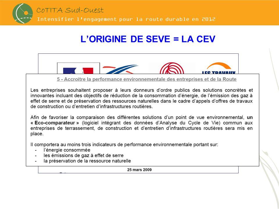 Intensifier l'engagement pour la route durable en 2012 LORIGINE DE SEVE = LA CEV