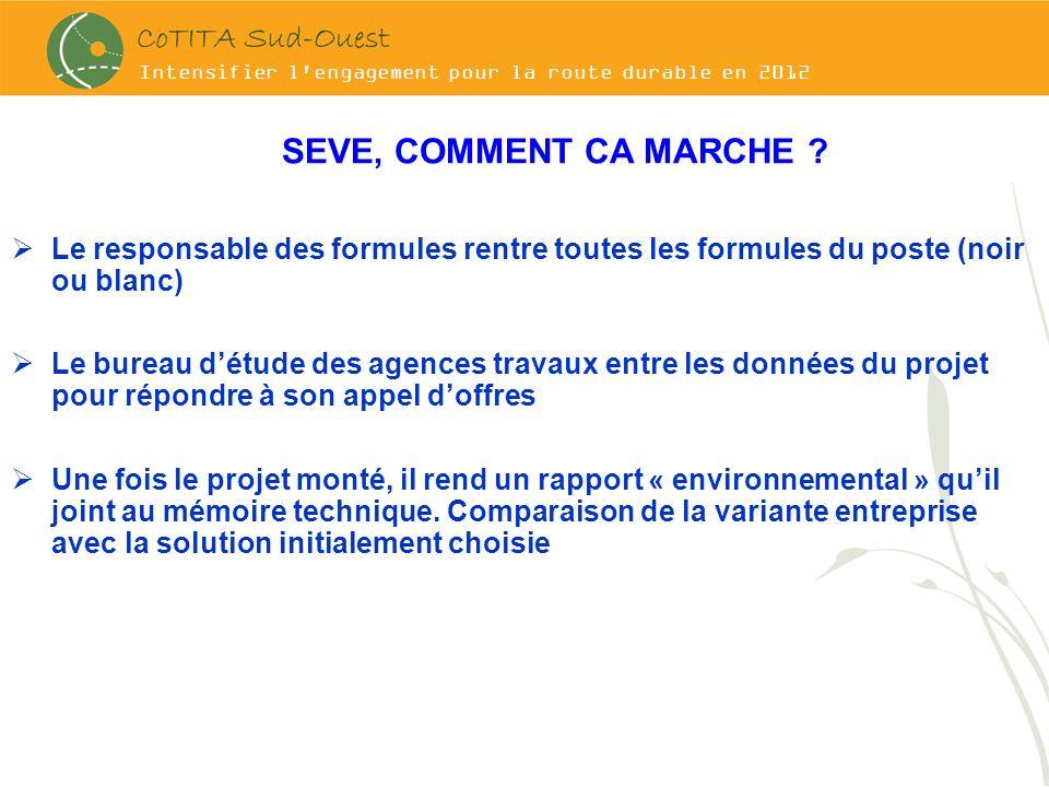 Intensifier l'engagement pour la route durable en 2012 SEVE, COMMENT CA MARCHE ? Le responsable des formules rentre toutes les formules du poste (noir