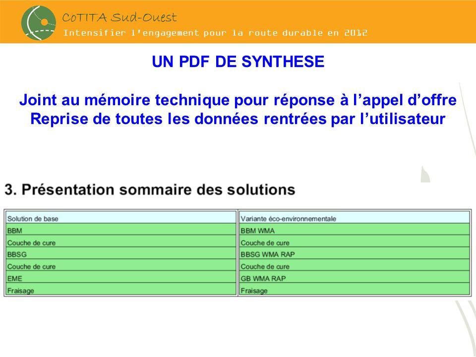 Intensifier l'engagement pour la route durable en 2012 UN PDF DE SYNTHESE Joint au mémoire technique pour réponse à lappel doffre Reprise de toutes le