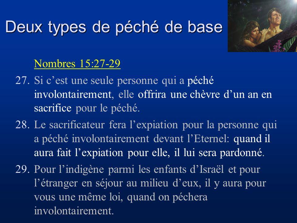 Deux types de péché de base Nombres 15:30-31 30.Mais si quelquun, indigène ou étranger, agit la main levée, il outrage lEternel; celui-là sera retranché du milieu de son peuple.