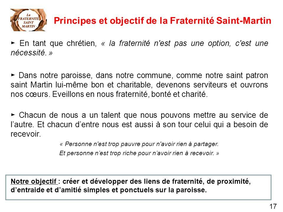 17 Principes et objectif de la Fraternité Saint-Martin En tant que chrétien, « la fraternité n'est pas une option, c'est une nécessité. » Dans notre p