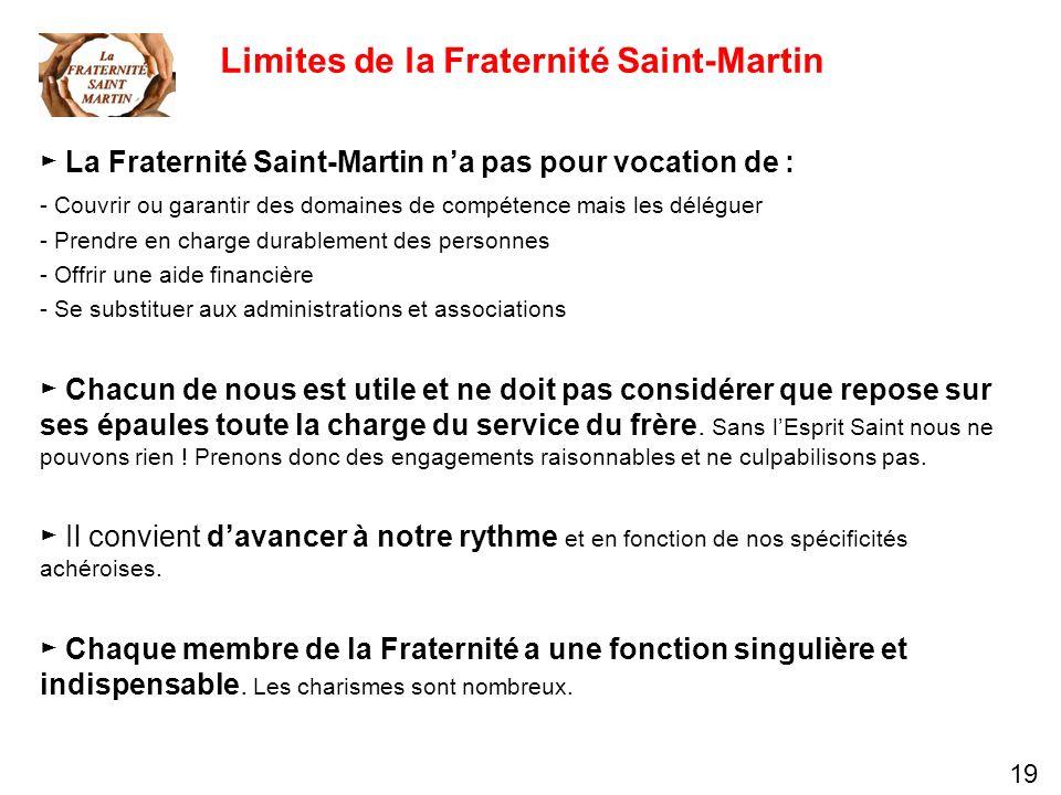 19 Limites de la Fraternité Saint-Martin La Fraternité Saint-Martin na pas pour vocation de : - Couvrir ou garantir des domaines de compétence mais le