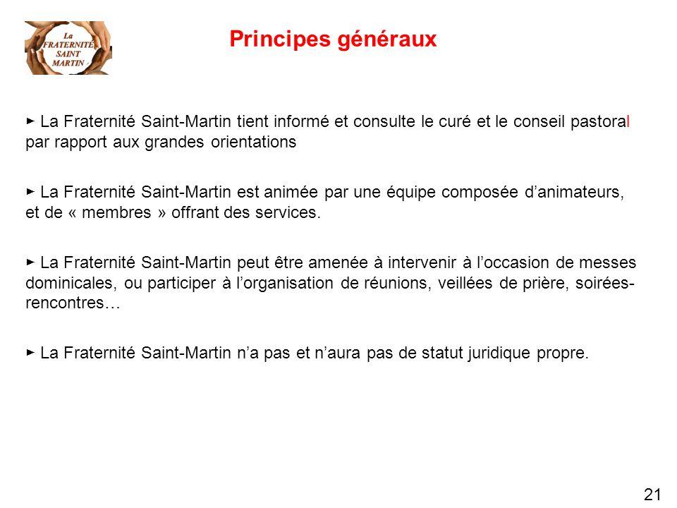 21 Principes généraux La Fraternité Saint-Martin tient informé et consulte le curé et le conseil pastoral par rapport aux grandes orientations La Frat