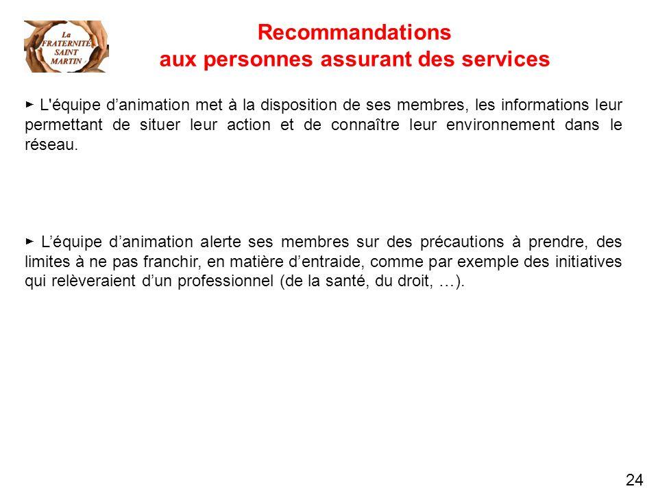 24 Recommandations aux personnes assurant des services L'équipe danimation met à la disposition de ses membres, les informations leur permettant de si