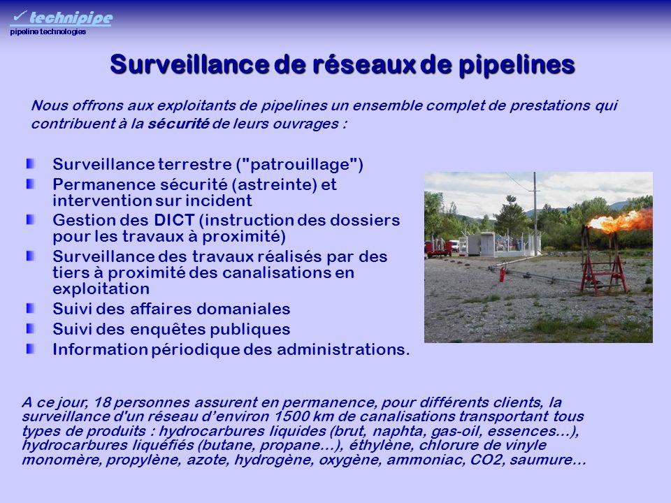 Surveillance de réseaux de pipelines Surveillance terrestre (