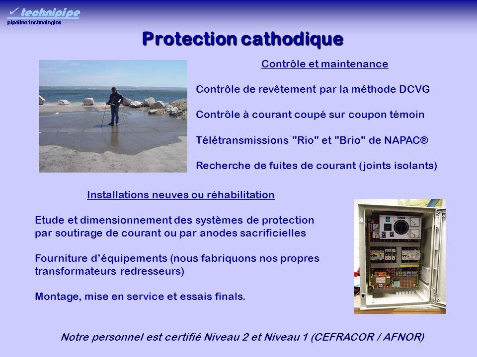 Protection cathodique Contrôle et maintenance Contrôle de revêtement par la méthode DCVG Contrôle à courant coupé sur coupon témoin Télétransmissions