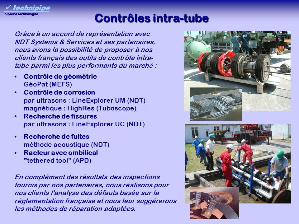 Contrôles intra-tube Contrôle de géométrie GéoPat (MEFS) Contrôle de corrosion par ultrasons : LineExplorer UM (NDT) magnétique : HighRes (Tuboscope)