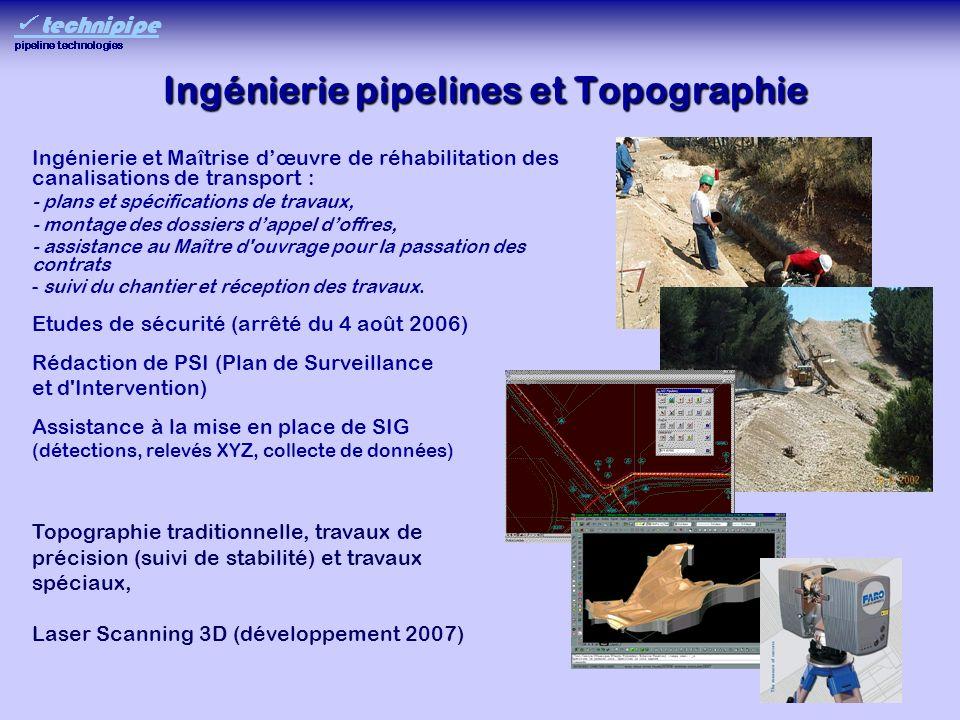 Ingénierie pipelines et Topographie Ingénierie et Maîtrise dœuvre de réhabilitation des canalisations de transport : - plans et spécifications de trav