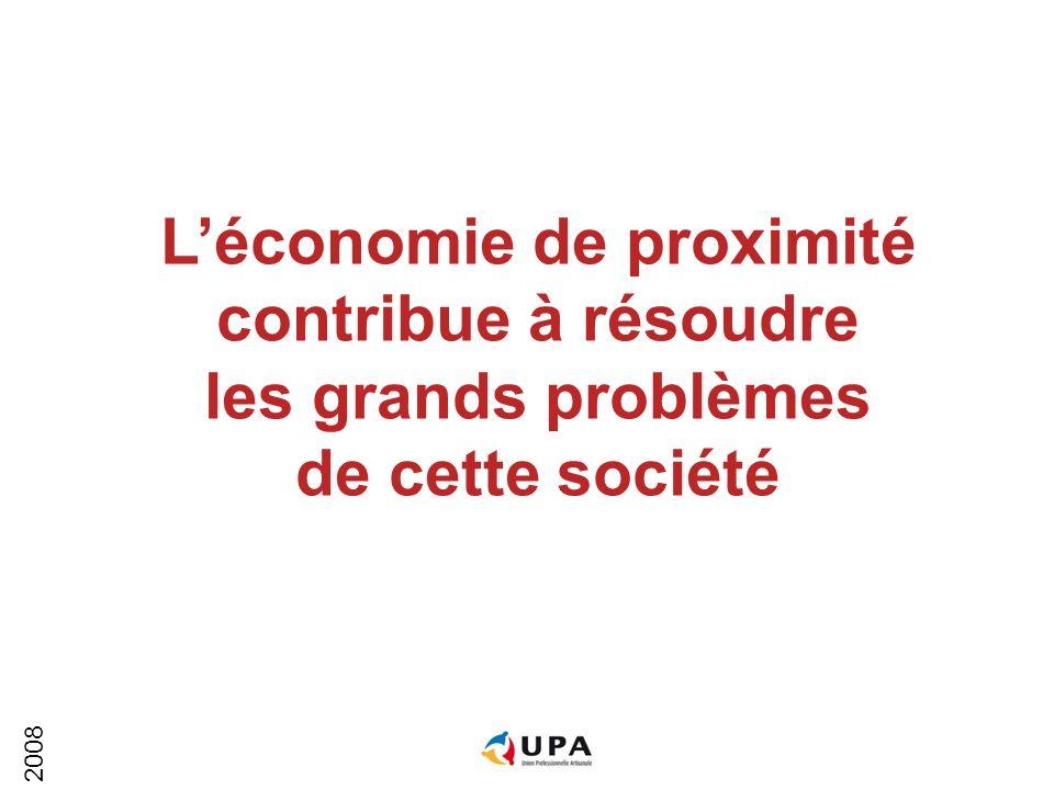 2008 Léconomie de proximité contribue à résoudre les grands problèmes de cette société