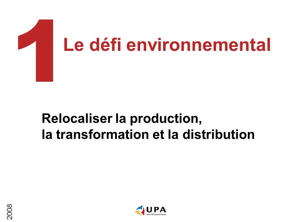 2008 Le défi environnemental 1 Relocaliser la production, la transformation et la distribution