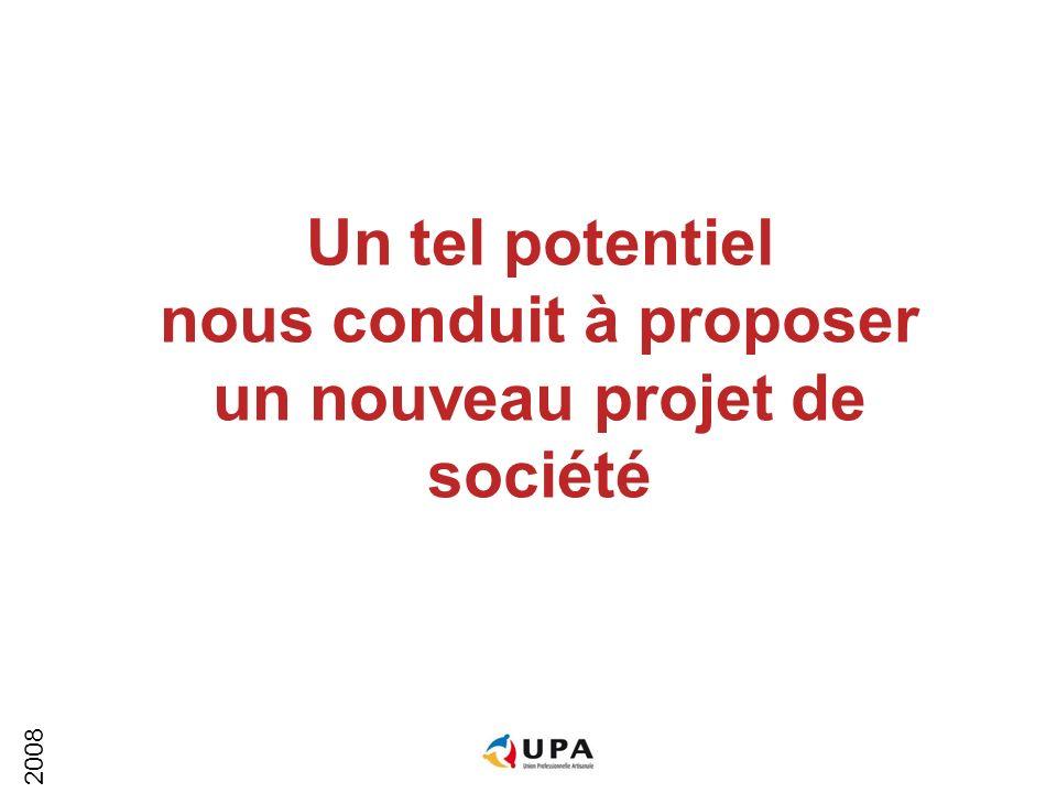 2008 Un tel potentiel nous conduit à proposer un nouveau projet de société