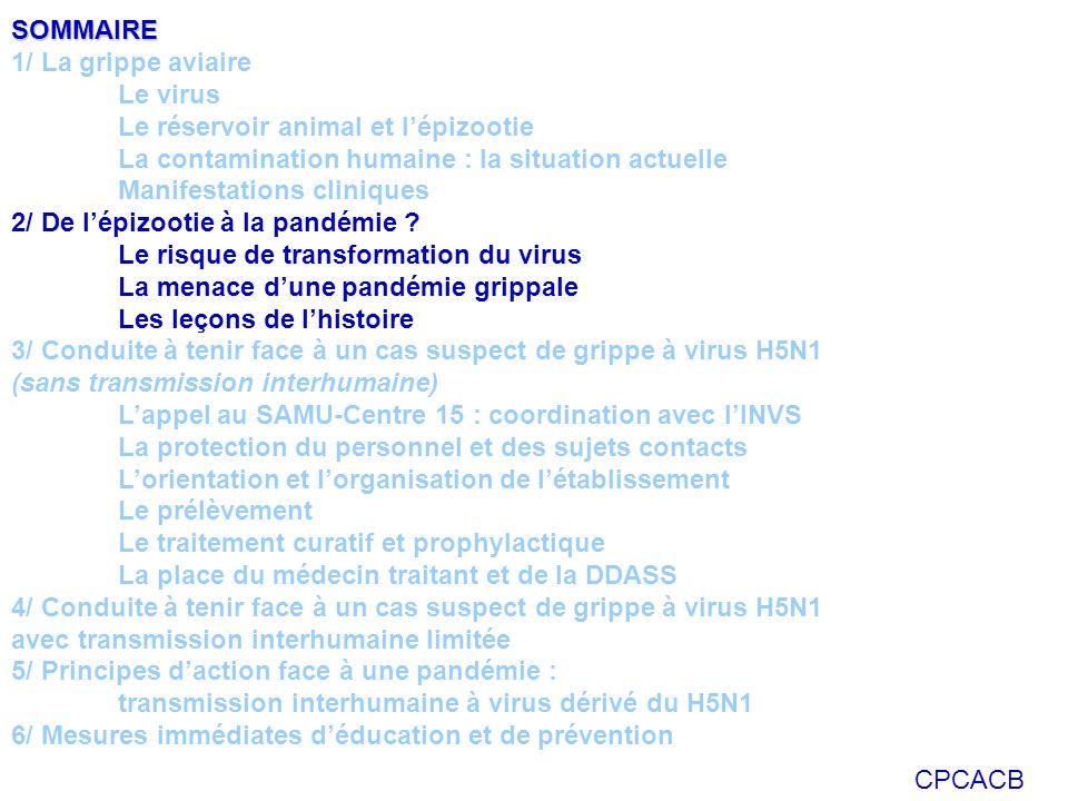 CPCACB SOMMAIRE 1/ La grippe aviaire Le virus Le réservoir animal et lépizootie La contamination humaine : la situation actuelle Manifestations cliniq