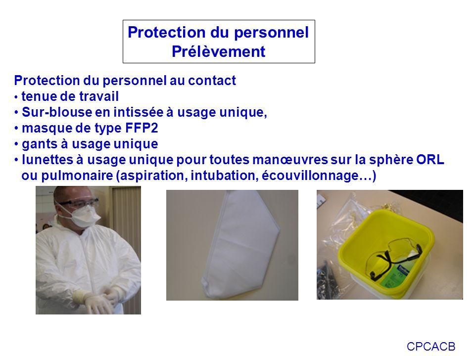 CPCACB Protection du personnel Prélèvement Protection du personnel au contact tenue de travail Sur-blouse en intissée à usage unique, masque de type FFP2 gants à usage unique lunettes à usage unique pour toutes manœuvres sur la sphère ORL ou pulmonaire (aspiration, intubation, écouvillonnage…)