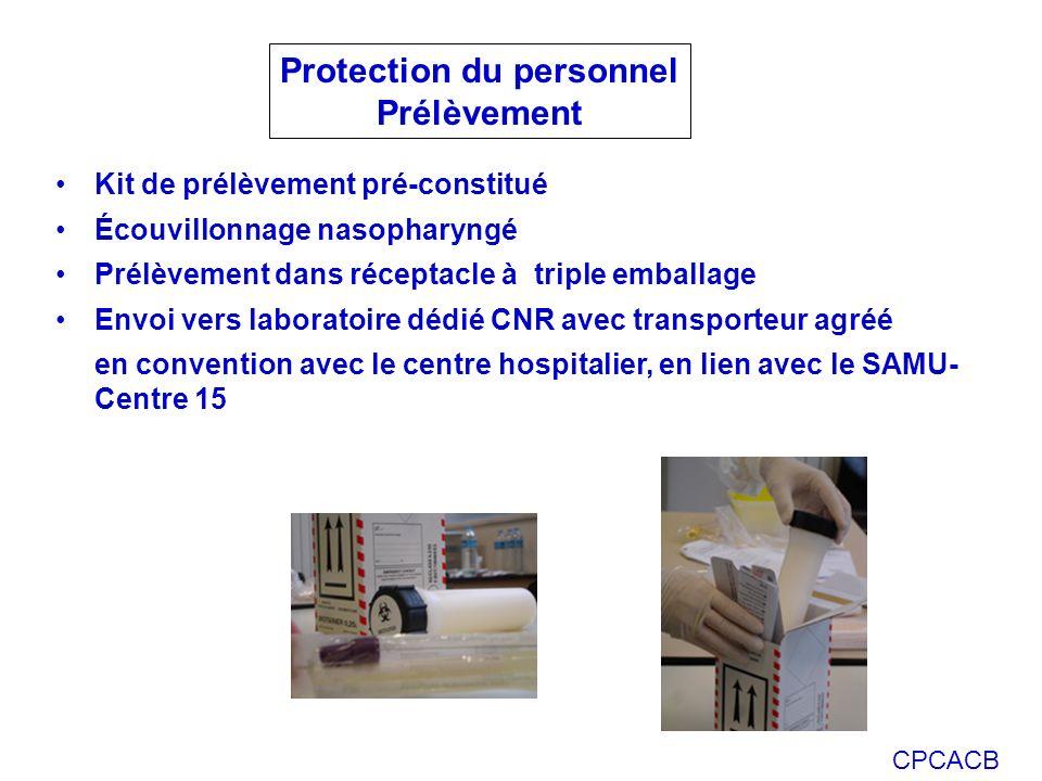 CPCACB Kit de prélèvement pré-constitué Écouvillonnage nasopharyngé Prélèvement dans réceptacle à triple emballage Envoi vers laboratoire dédié CNR av