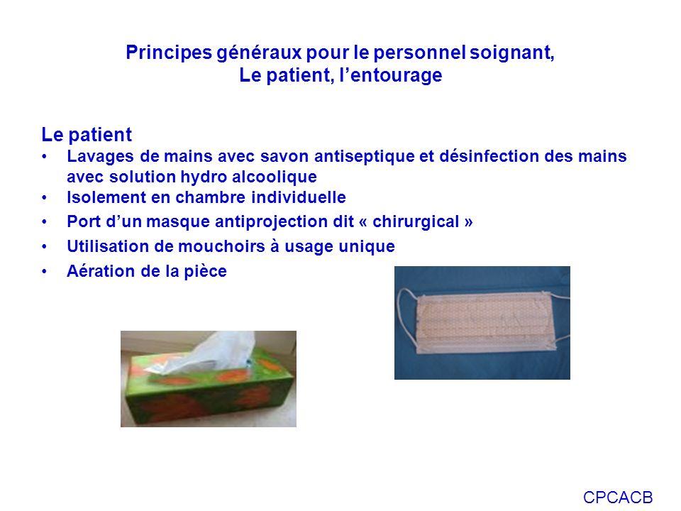 CPCACB Le patient Lavages de mains avec savon antiseptique et désinfection des mains avec solution hydro alcoolique Isolement en chambre individuelle